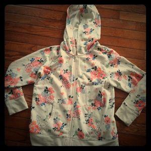 Girl's Floral Hoodie - XL / 14